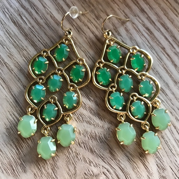 Stella Dot Green Mint Chandelier Earrings